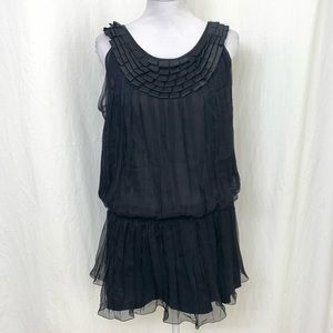 NWT MSSP Black Flapper Pleated Tunic Dress - L